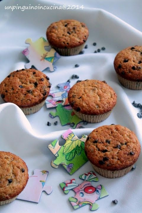 Muffin banane e cioccolato senza lattosio