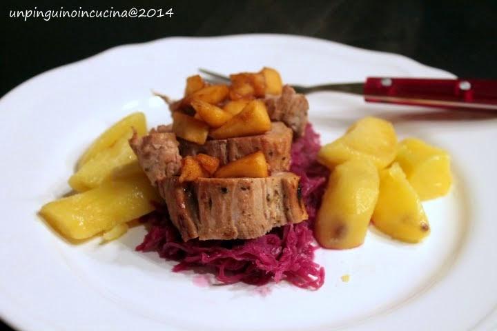 Filetto di maiale con cavolo rosso e mele Kanzi