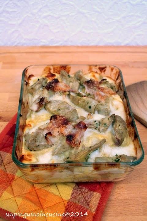 Lasagne carciofi e prosciutto cotto