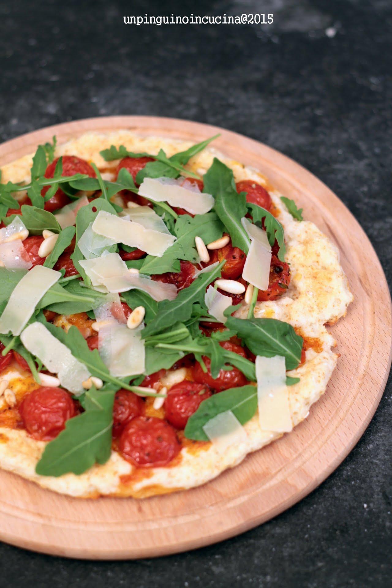 pizza-allo-yogurt-con-pomodorini-caramellati-rucola-pinoli-Parmigiano