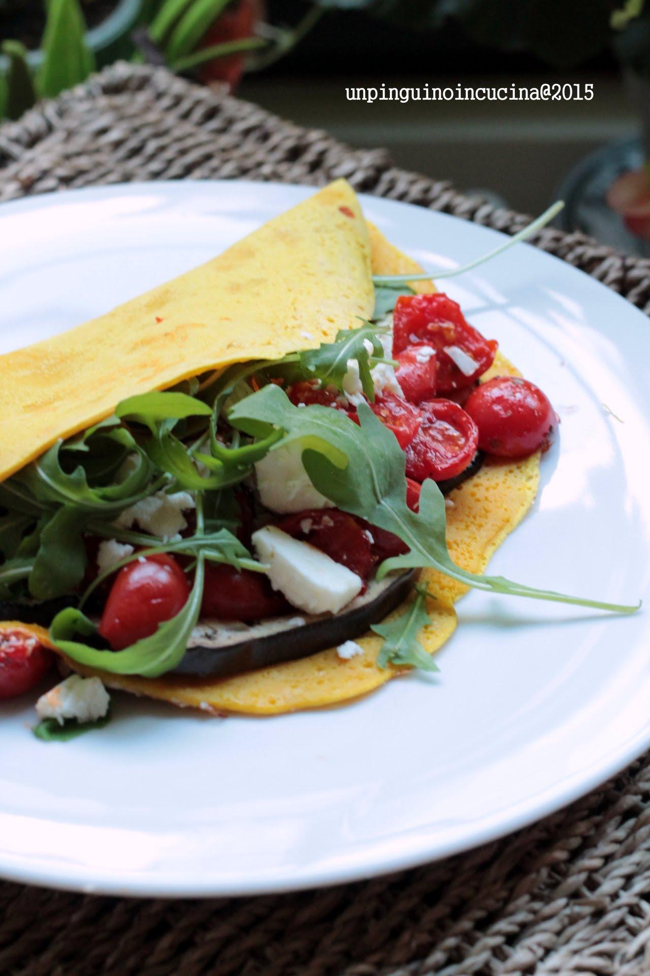omelette-senza-uova-con-melanzane-pomodorini-e-feta