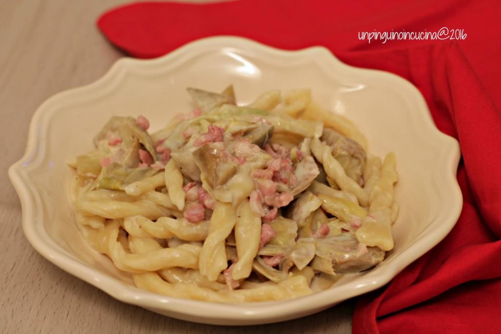 sagne-ncannulate-pancetta-carciofi-e-latte-di-cocco