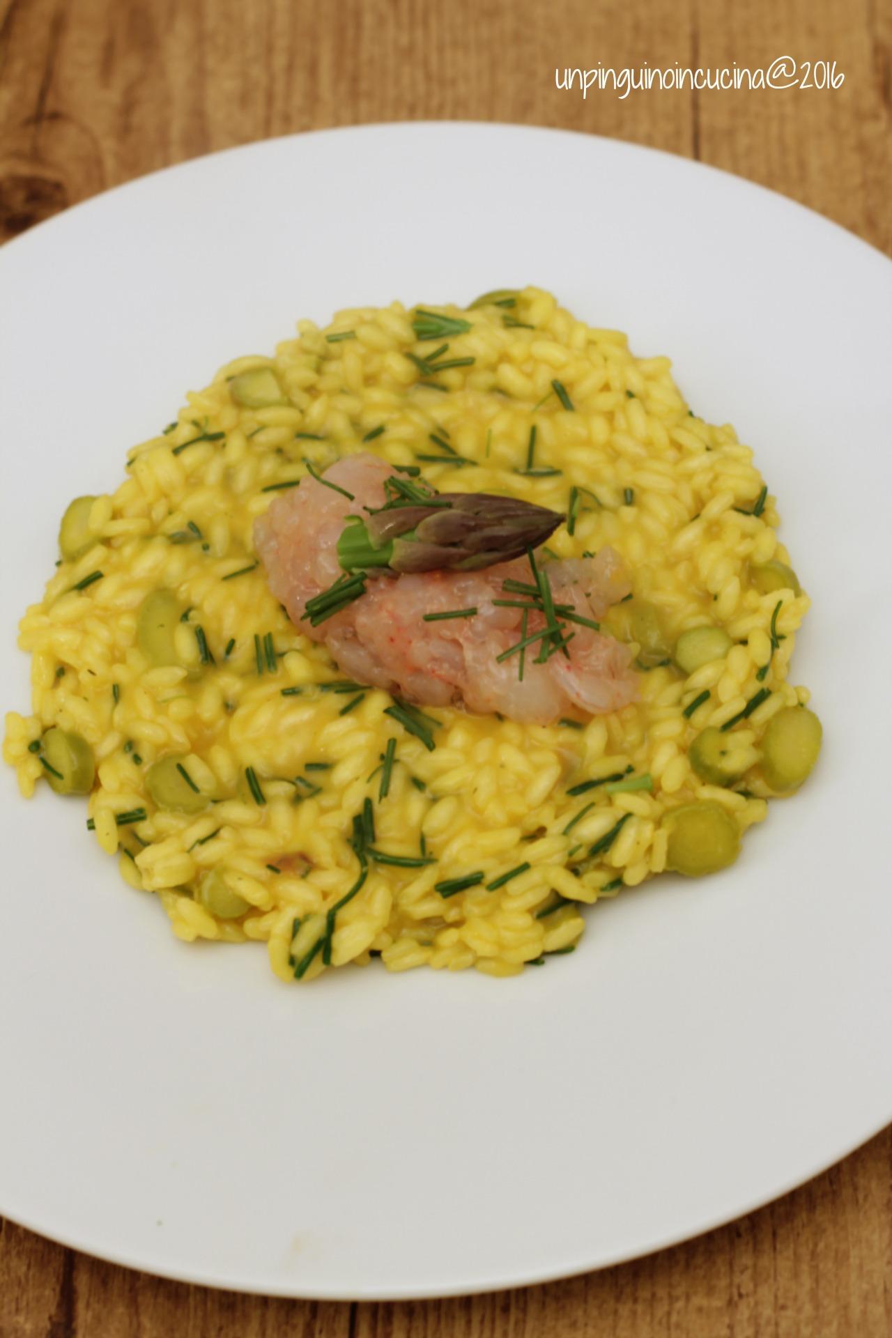 risotto-zafferano-asparagi-agretti-e-tartare-di-gamberi
