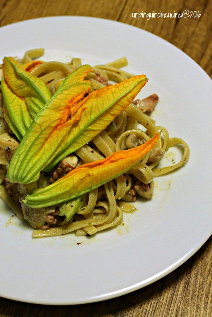 linguine-pesto-di-pistacchi-polpo-e-fiori-di-zucca