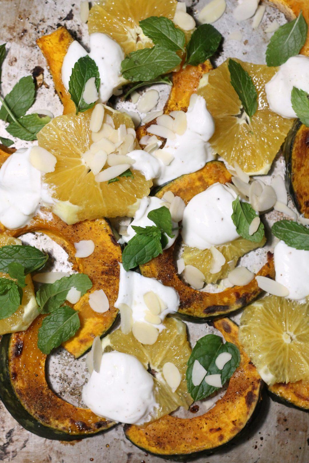 zucca-al-forno-con-arance-menta-e-yogurt