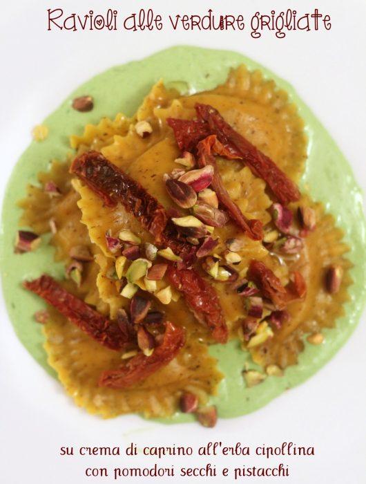 ravioli-alle-verdure-grigliate-su-crema-di-caprino-all-erba-cipollina-con-pomodori-secchi-e-pistacchi